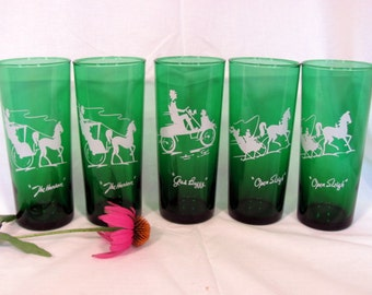 Forest Green and White Tumblers by Anchor Hocking Set of 5