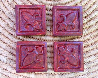 Fleur de Lis Ceramic Accent tile -- 2x2 Handmade tiles in a set of Four, Fireluster glaze, rich red, kitchen tile, fireplace tile, IN STOCK