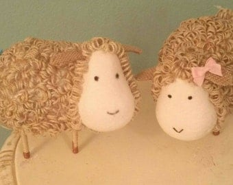 Set of 2 Twine Sheep for Baby Shower Decor Centerpiece or Nursery Decor Pink or blue