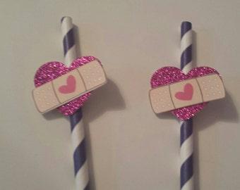 Bandaid birthday party theme straws