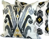 20x20 Pillow Cover Accent Pillow Decorative Pillow Nat Burkas Ikat 18x18 20x20 22x22 or 14x20 Lumbar Pillow Black Grey Bone Ikat Pillow