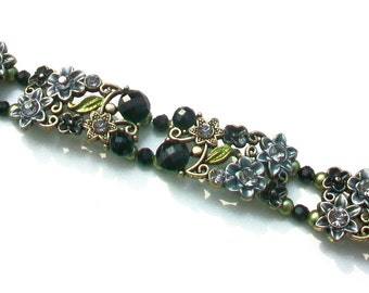 Victorian Styled Flowered Bracelet, Double Strand Black and Olive Green Swarovski Crystals,  Gift for Her, Old Fashioned Crystal Bracelet