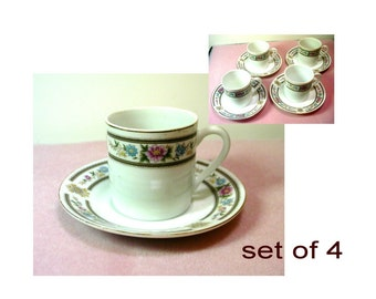 Set of 4 Chinese Porcelain Demitasse Cups with Saucers - No. 1493