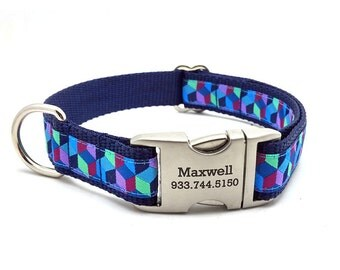 3D BLOCKS Dog Collar with Laser Engraved Personalized Buckle - BLUE