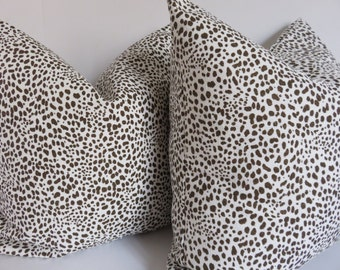 Pillow Cover, 18x18, Spotted Pillow Cover, Brown Spotted Pillow, white spotted Pillow, Decorative Pillow,