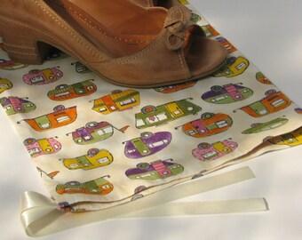 Ivory caravan drawstring shoe bag - lingerie bag orange yellow pink green purple
