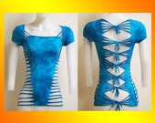 SALE!!! SMALL...ONLY 1 Made...Tie Dyed Shredded Womens / JuniorsTop  Yoga, Beach, Club Wear