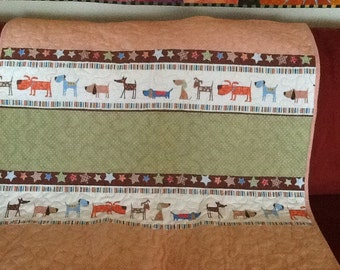Toddler or Crib Size Quilt in Flannel and Minky