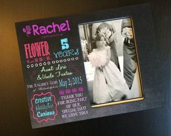 Flower Girl Thank You Gift Ringer Bearer Gift Chalkboard Style Frame Bridal Party Gift Personalized Wood 4x6 Picture Frame Keepsake Frame