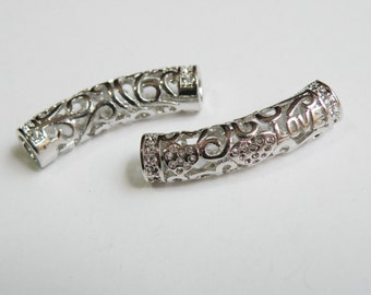 2 Heart and Love cutout Curved Tubes spacer bars with swirls antique silver finish large hole 30x7mm DB30521