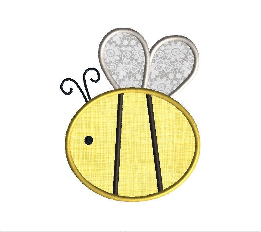 bumble bee applique machine embroidery design instant download. Black Bedroom Furniture Sets. Home Design Ideas