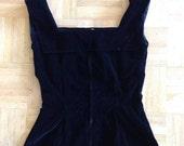 Black 1950's 50's vintage cotton Velvet top blouse peplum
