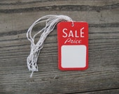 vintage store hang tags with string set of 10 red and white