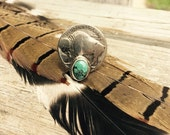 Roam Wild and Free Buffalo Nickel or Indian Head Nickel and Turquoise Ring Size 7