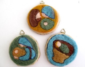 Needle felted Nativity Set ornaments Christmas decoration round hanging tree decor