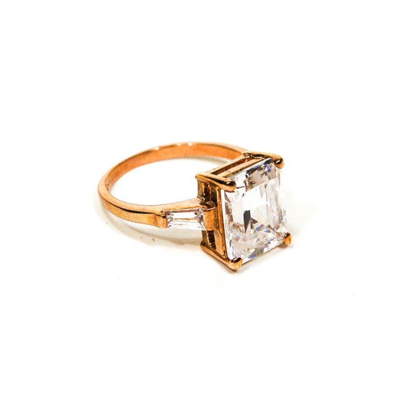 cubic zirconia engagement ring emerald cut by