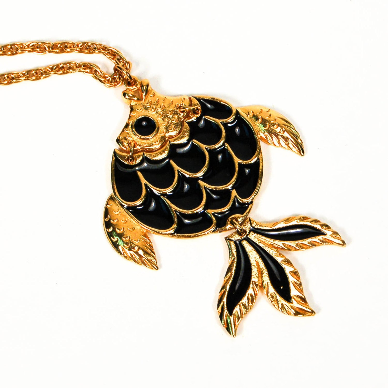 Black and gold fish pendant necklace goldfish articulated for Gold fish pendant