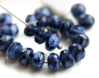 Dark blue beads, Czech glass, Striped blue spacers, jewelry making, rondelle, rondel beads, gemstone cut - 4x7mm - 25Pc - 2141