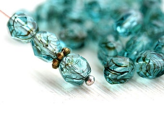 6mm beads, Teal glass beads, czech beads, fire polished, round faceted spacers - 30Pc - 2225