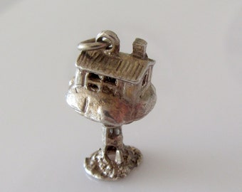 Sterling Silver Tree House and Pixie  Opening Charm
