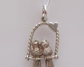 Silver Love birds Charm Necklace