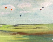 Ballooning with a Caravan - Fine Art Print from Original Painting by Kylie Fogarty
