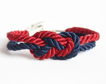 Sailor Knot Bracelet Red and Navy with Anchor Charm