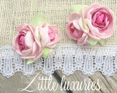 Perfectly Pink - Pink, Satin, Flower, Satin and Lace,pink satin flower, Hair clips, Shoe clips