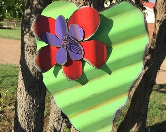 Corrugated Tin lime green heart with metal flower