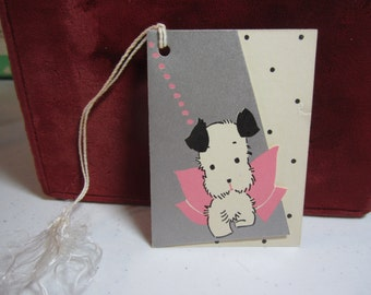 Adorable Art Deco Die Cut  silver gilded 1930's Gibson bridge tally card  white scotty dog with black ears and big pink bow,black polka dots