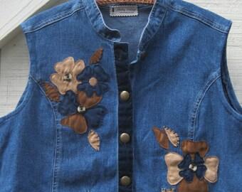 Vintage Jacket, Denim cropped vest, Peplum jacket, Boho Vest, rustic vest, cowgirl vest, upcycled denim