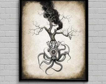 Engine Tree Art Print -- dieselpunk, steampunk, sci-fi -- industrial octopus!