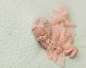 Mohair Bonnet, Newborn Bonnet,  Newborn Wrap, Lace Blanket, Lace Mohair Wrap