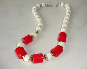 Vintage Necklace Red and White Acrylic Bead Gold Tone