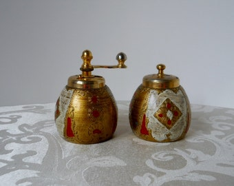 Vintage Salt Shaker and Pepper Grinder Red Gold White Made in Italy