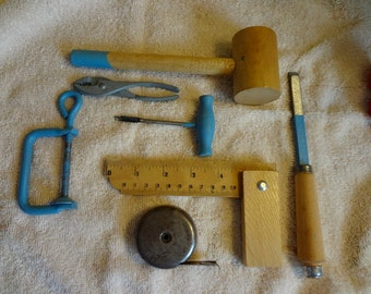 Vintage Child's Tools - All Small Scale: Square; C-Clamp, Hammer, Pliers, Auger, Chisel, Tape Measure