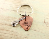 Custom copper guitar pick keychain - Personalized guitar pick - Musician gift - I pick you - Personalized gift - Gift for men - Father's Day
