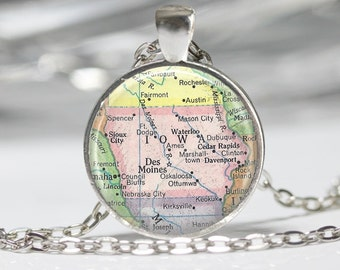 Iowa Necklace Cutom Map Jewelry Genealogy Necklace Home Necklace Iowa Jewelry