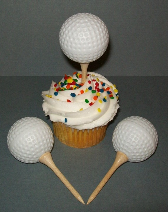 12 Golf Ball Cupcake Toppers Cake Decorations