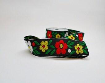 Floral Embroidered Trim, Flower Ribbon, Jacquard Trim, Wedding Ribbon, Decorative Trim