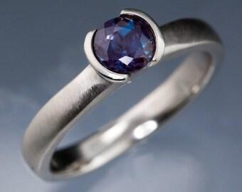 Chatham Alexandrite Half Bezel Engagement Ring, in Palladium, Platinum, White Gold, Rose Gold or Yellow Gold, Alternative Ethical Ring