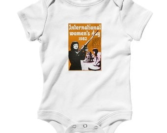 Baby International Women's Day Romper - Infant One Piece - NB 6m 12m 18m 24m - Feminist Baby - 3 Colors