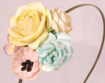 Yellow and Pale Pink Floral Headband Flower Fascinator Vintage Wedding Party Bridal Accessory Bridesmaid statement