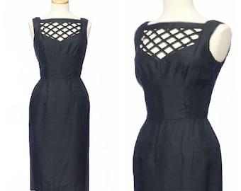 Chic 50s dress // Vintage Lattic Cut Silk Black Illusion Cage Dress S