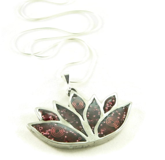 Orgone Energy Pendant Necklace - Large Lotus Flower Pendant with Sterling Silver Chain - Choose Your Stone/Color - Artisan Jewelry
