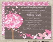 BUTTERFLY BABY SHOWER Invitations Pink Butterfly Fairy Tale Butterfly Digital diy Printable Personalized - 175715639