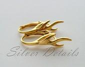 Unique Gold Vermeil over Sterling Silver Lever backs Vine with Pinch Bail for Swarovski Crystals model ES72 AU