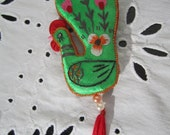 Embroidered Peacock Folk Art Ornament with Tassel Colorful Ornament