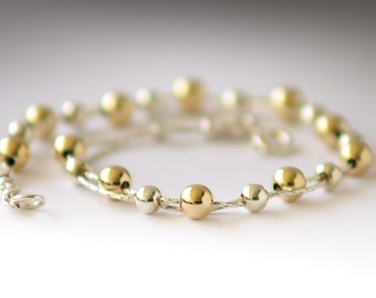 Silver and Gold Bracelet. Sterling silver and Gold filled bracelet. Double Strand bracelet