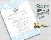 Printable Prince Baby Shower Invitation for a Baby Boy in Blue & White Damask - Royal Crown Baby Shower Custom Invite DIY 5x7 or 4x6 Digital